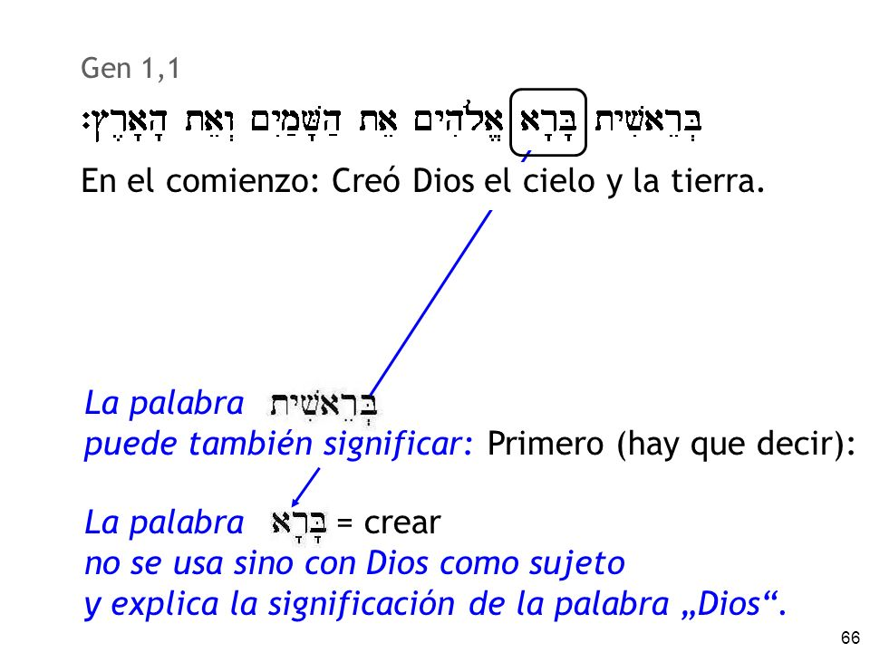 En el comienzo: Creó Dios el cielo y la tierra.