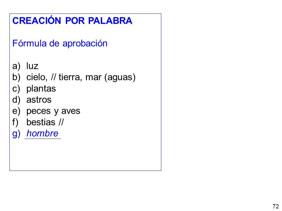 CREACIÓN POR PALABRA Fórmula de aprobación. a) luz. b) cielo, // tierra, mar (aguas) c) plantas.