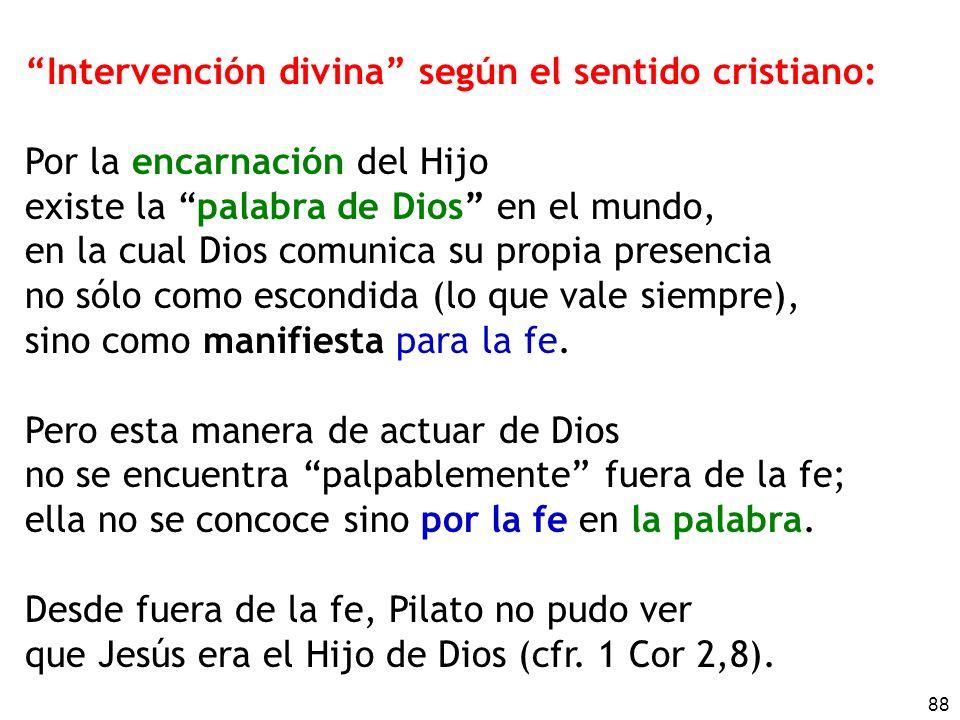 Intervención divina según el sentido cristiano: