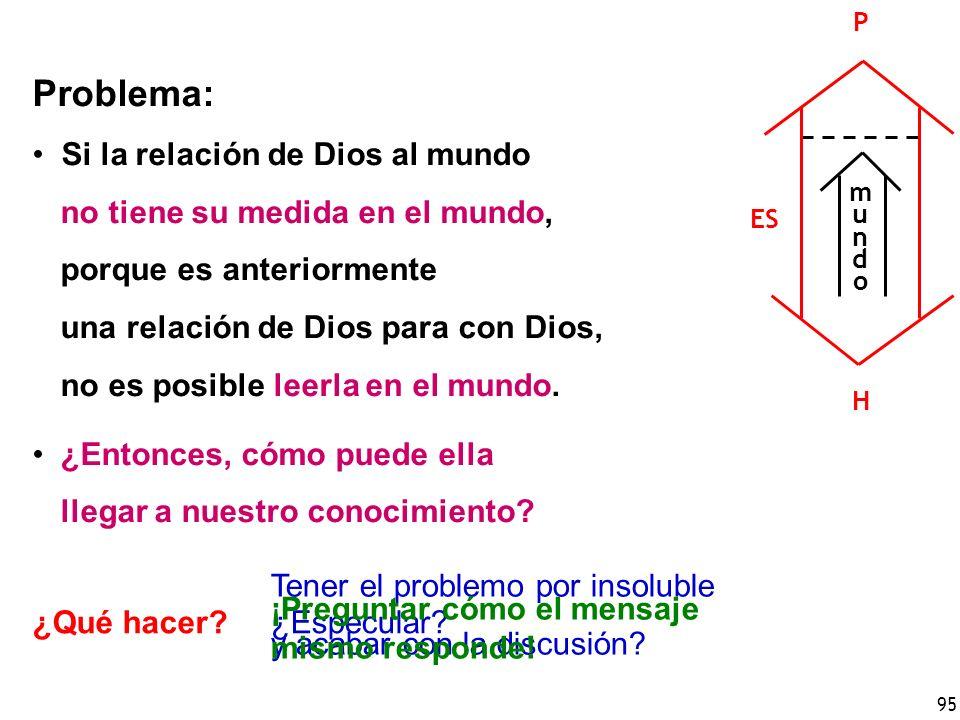 Problema: Si la relación de Dios al mundo