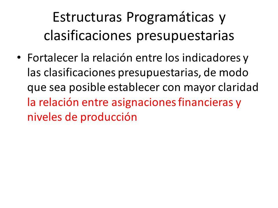 Estructuras Programáticas y clasificaciones presupuestarias