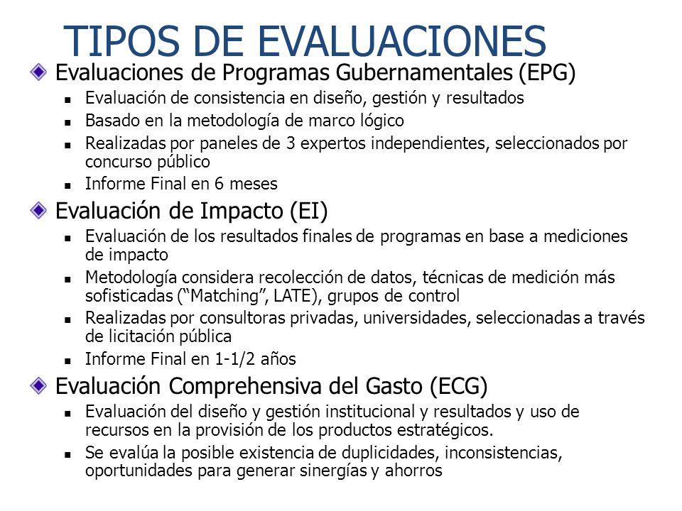 TIPOS DE EVALUACIONES Evaluaciones de Programas Gubernamentales (EPG)