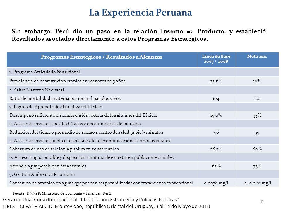 La Experiencia Peruana Programas Estrategicos / Resultados a Alcanzar
