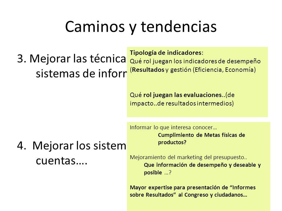 Caminos y tendencias Tipología de indicadores: Qué rol juegan los indicadores de desempeño (Resultados y gestión (Eficiencia, Economía)