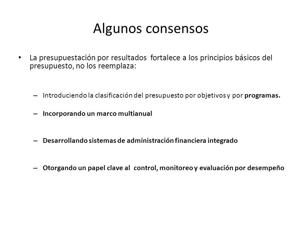 Algunos consensos La presupuestación por resultados fortalece a los principios básicos del presupuesto, no los reemplaza:
