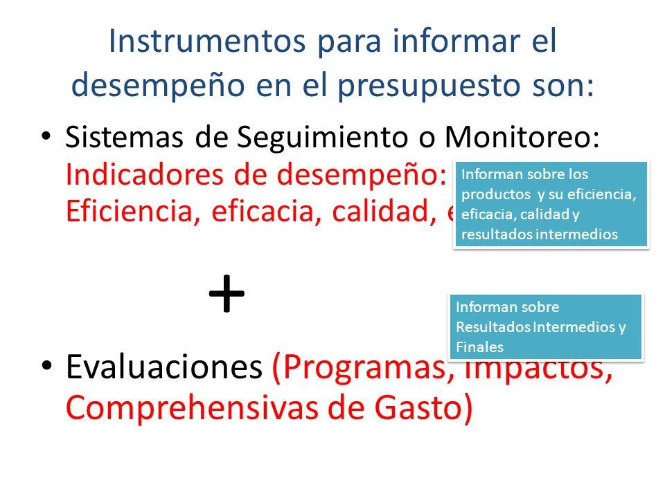 Instrumentos para informar el desempeño en el presupuesto son: