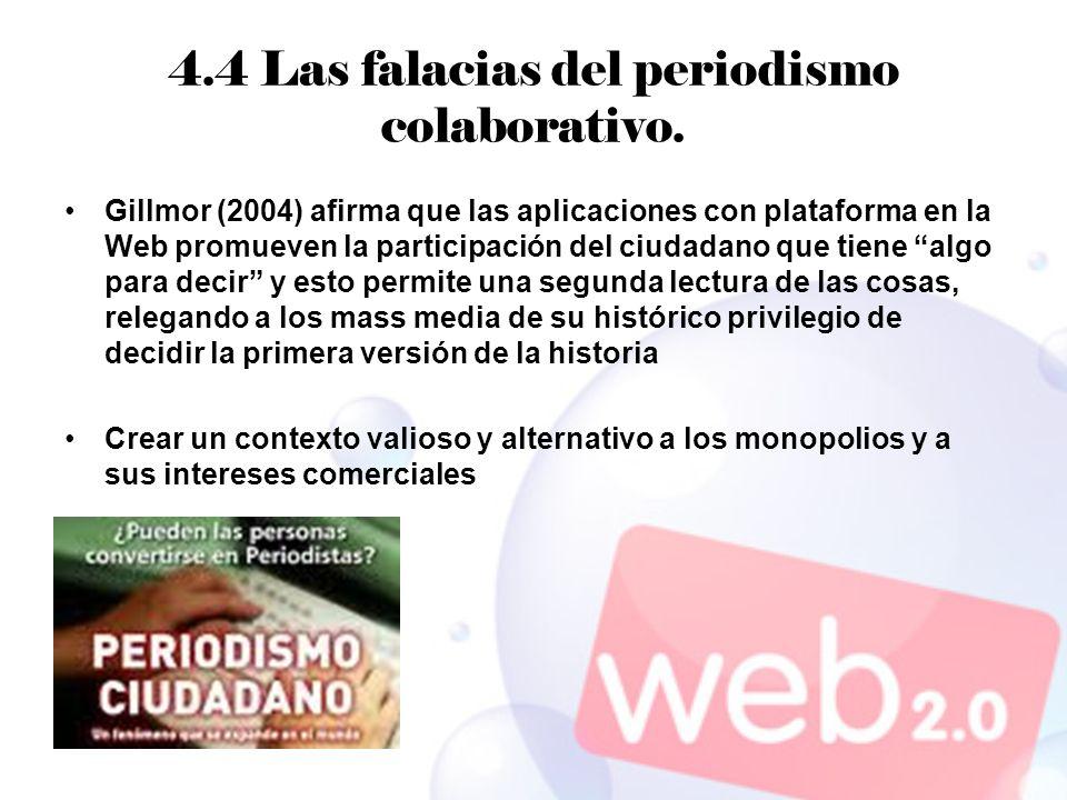 4.4 Las falacias del periodismo colaborativo.