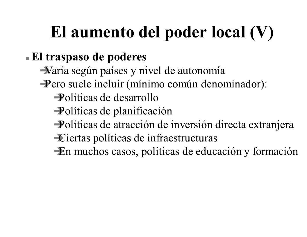 El aumento del poder local (V)