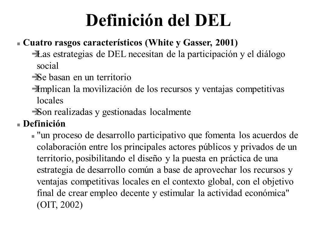Definición del DEL Cuatro rasgos característicos (White y Gasser, 2001) Las estrategias de DEL necesitan de la participación y el diálogo social.