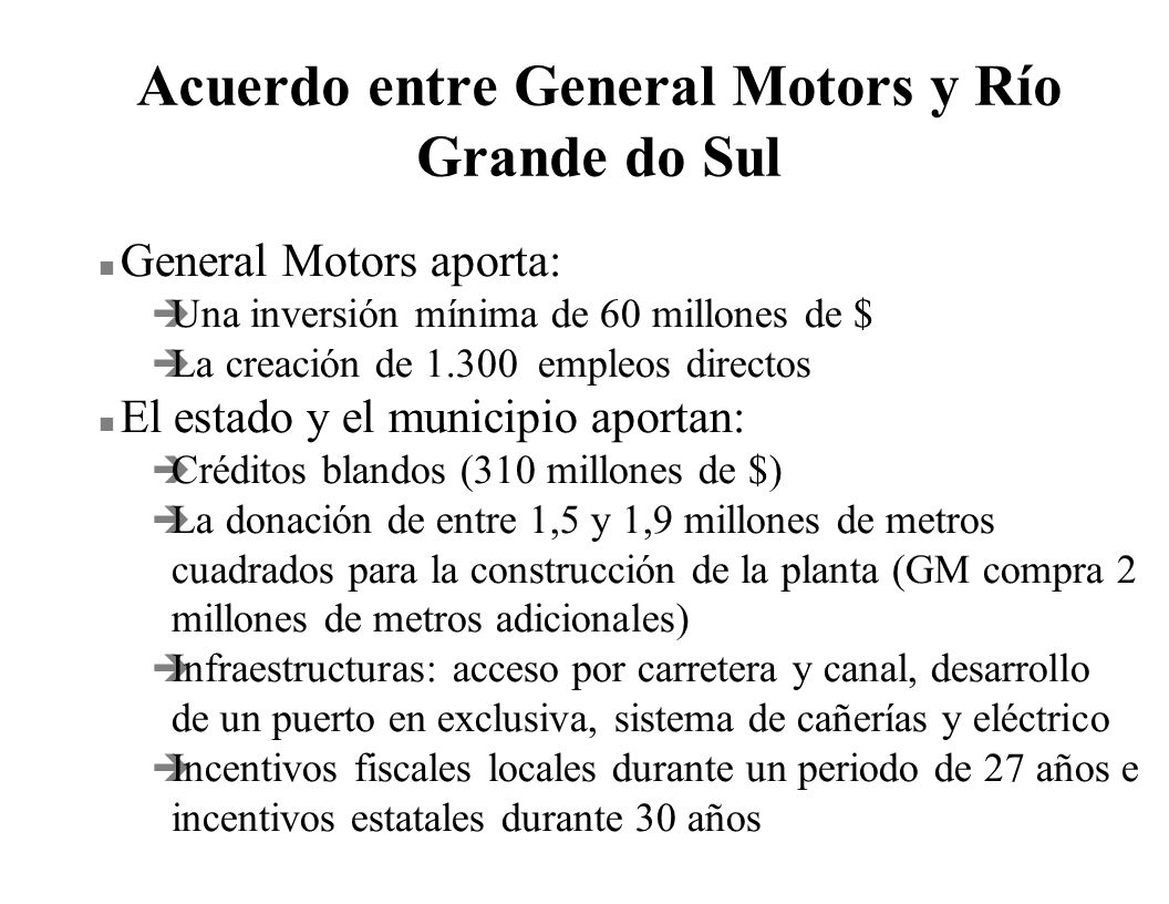 Acuerdo entre General Motors y Río Grande do Sul