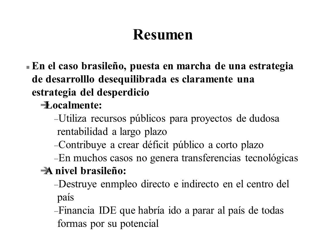 ResumenEn el caso brasileño, puesta en marcha de una estrategia de desarrolllo desequilibrada es claramente una estrategia del desperdicio.