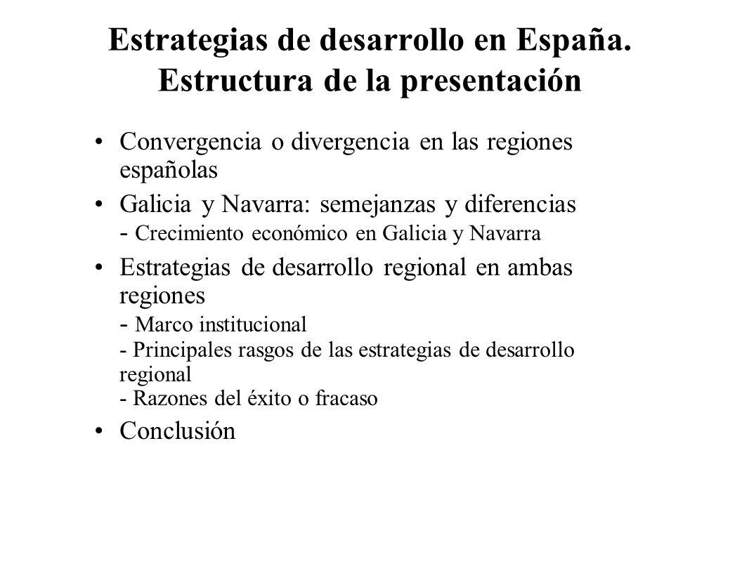 Estrategias de desarrollo en España. Estructura de la presentación
