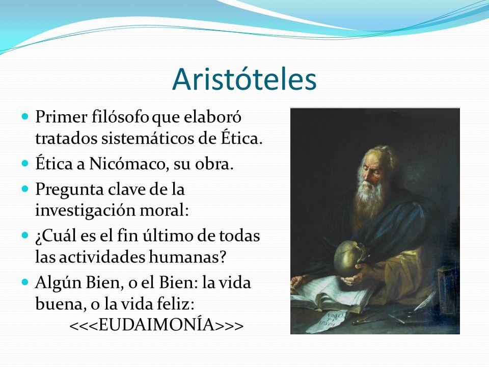 Aristóteles Primer filósofo que elaboró tratados sistemáticos de Ética. Ética a Nicómaco, su obra.