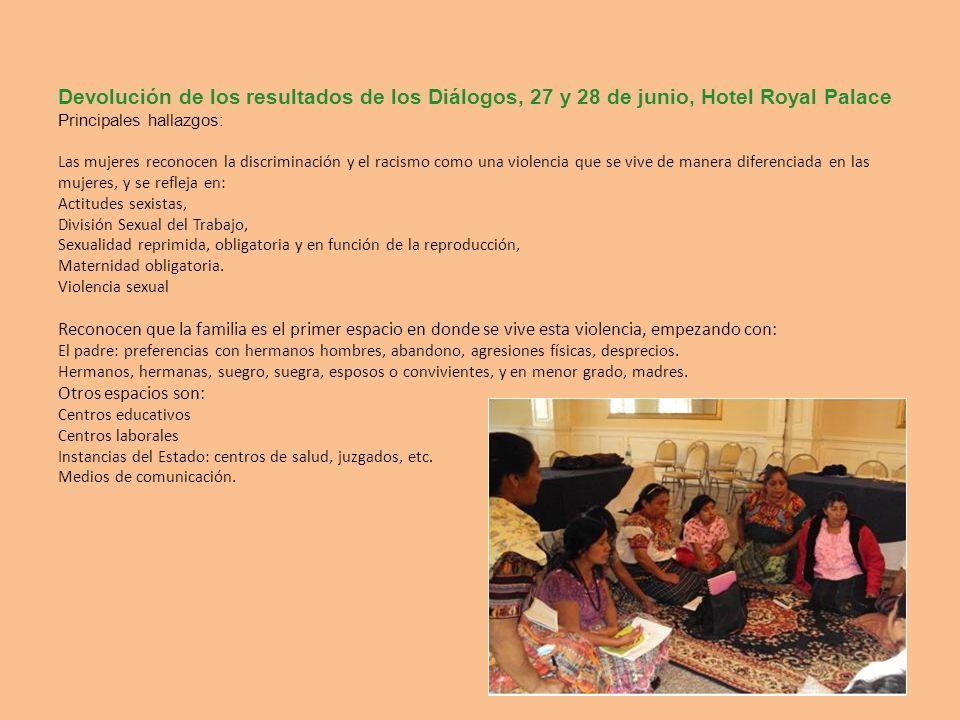 Devolución de los resultados de los Diálogos, 27 y 28 de junio, Hotel Royal Palace