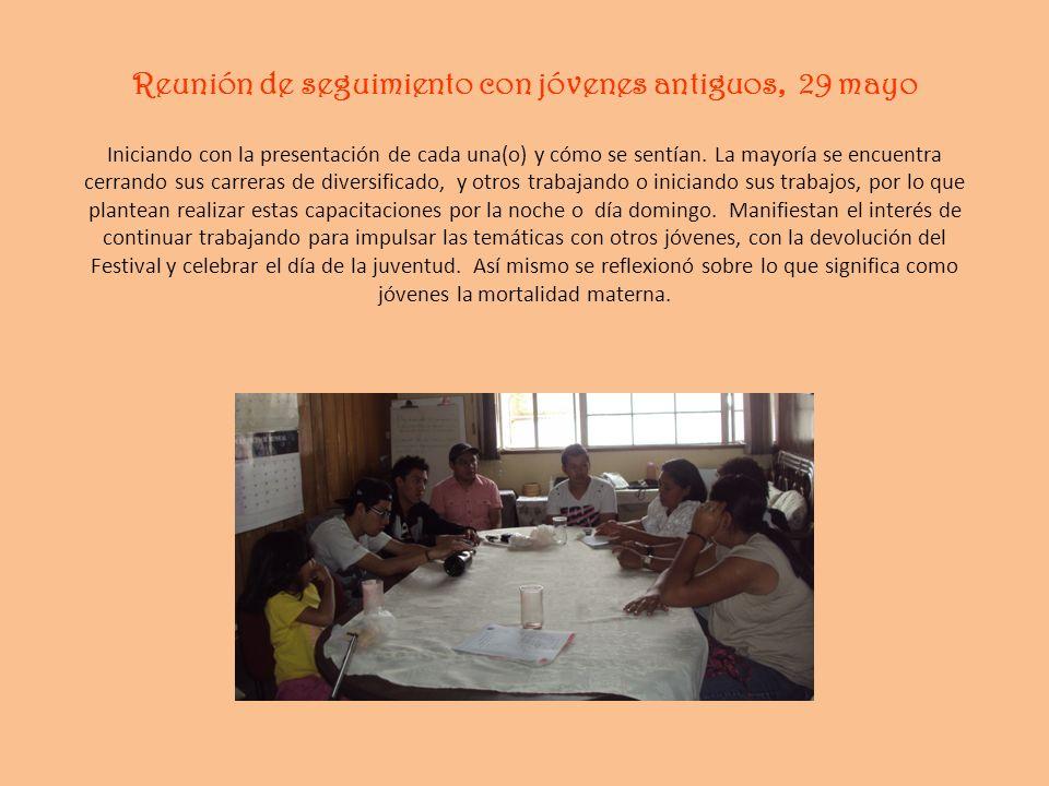 Reunión de seguimiento con jóvenes antiguos, 29 mayo Iniciando con la presentación de cada una(o) y cómo se sentían.