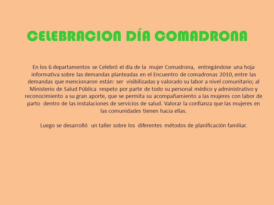 CELEBRACION DÍA COMADRONA