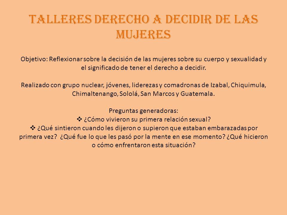TALLERES DERECHO A DECIDIR DE LAS MUJERES