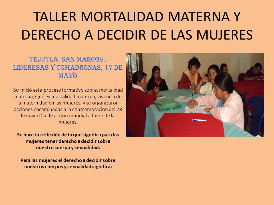 TALLER MORTALIDAD MATERNA Y DERECHO A DECIDIR DE LAS MUJERES