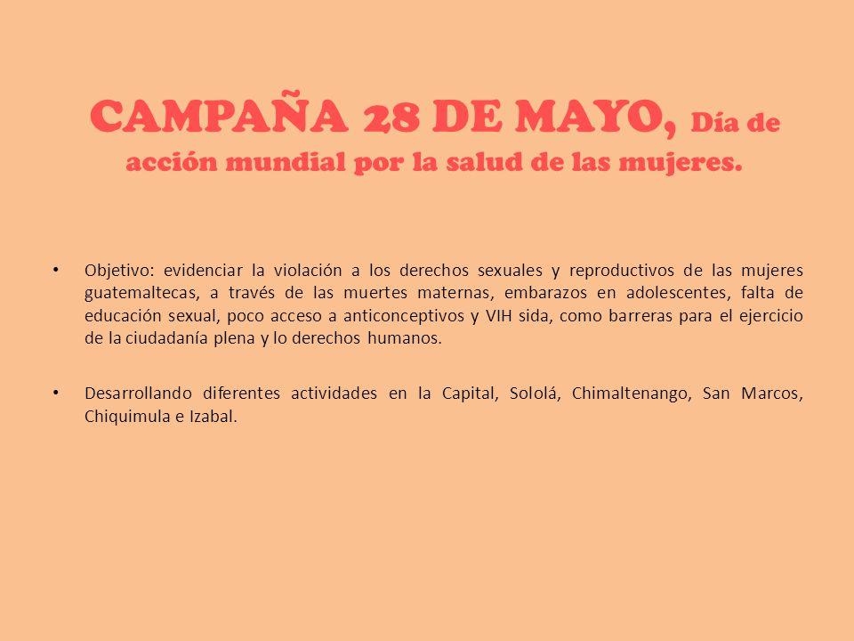 CAMPAÑA 28 DE MAYO, Día de acción mundial por la salud de las mujeres.