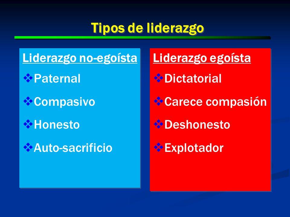 Tipos de liderazgo Liderazgo no-egoísta Paternal Compasivo Honesto