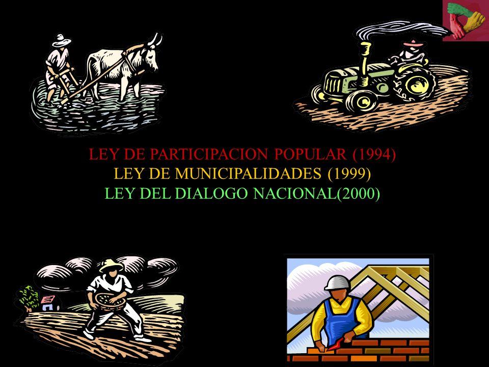 LEY DE PARTICIPACION POPULAR (1994) LEY DE MUNICIPALIDADES (1999) LEY DEL DIALOGO NACIONAL(2000)