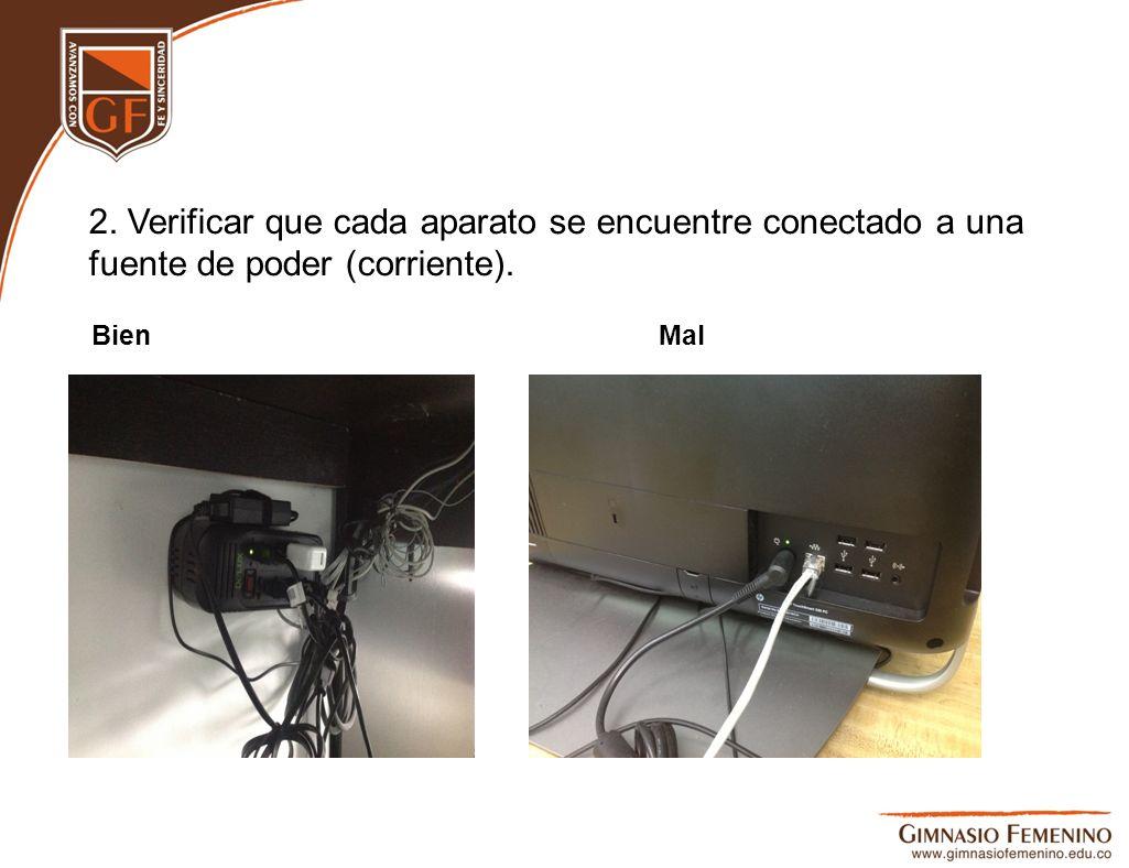 2. Verificar que cada aparato se encuentre conectado a una fuente de poder (corriente).