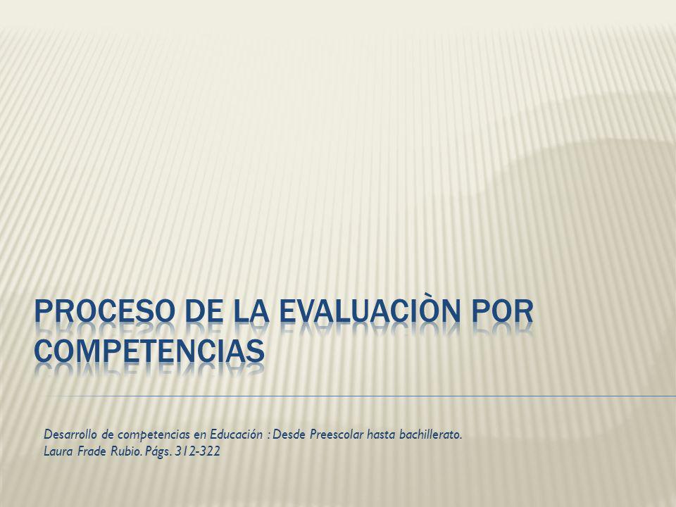 Proceso de la evaluaciòn por competencias