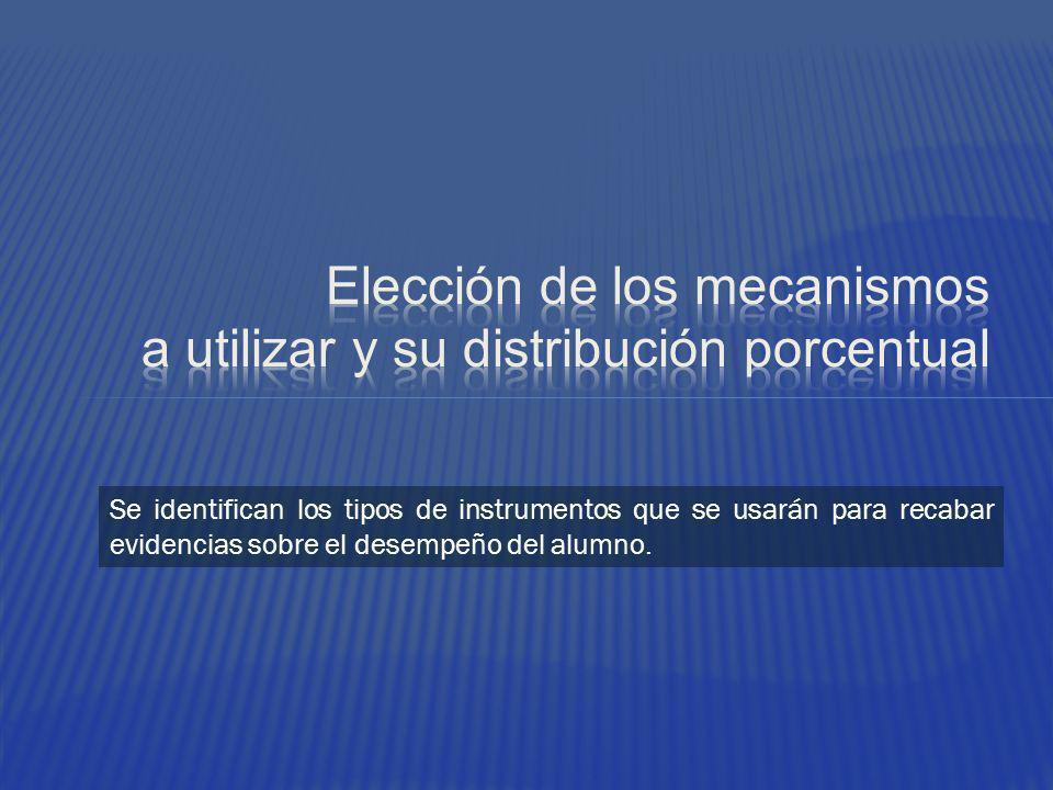 Elección de los mecanismos a utilizar y su distribución porcentual