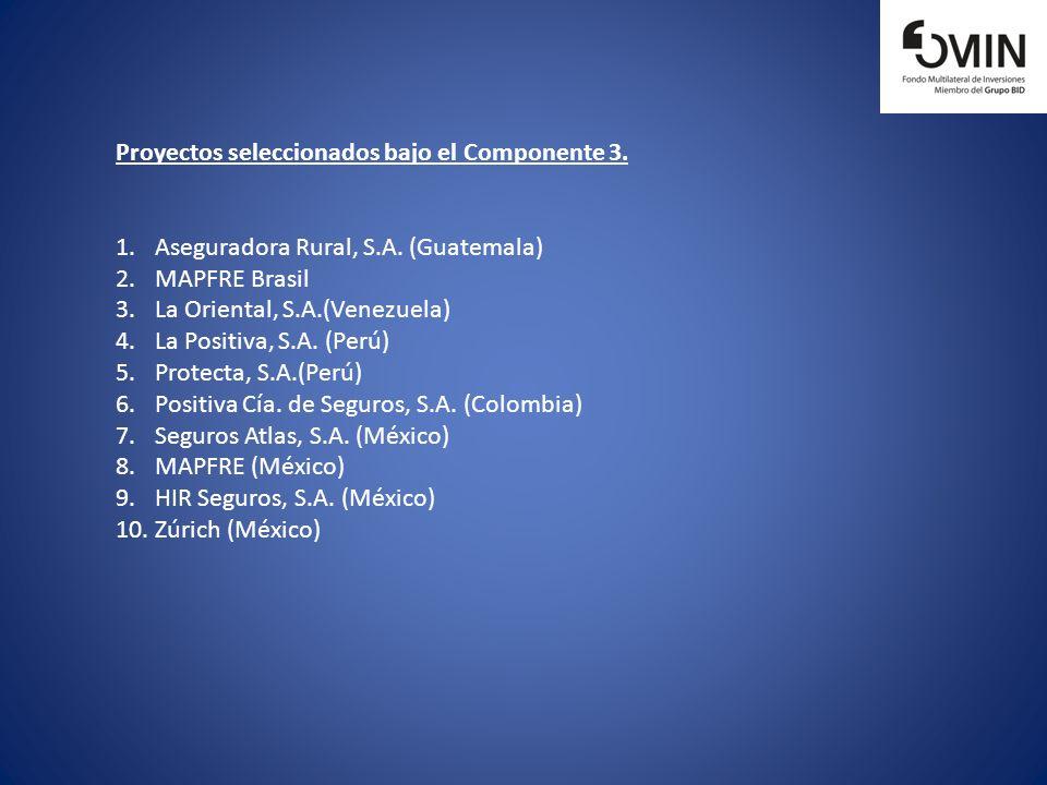 Proyectos seleccionados bajo el Componente 3.