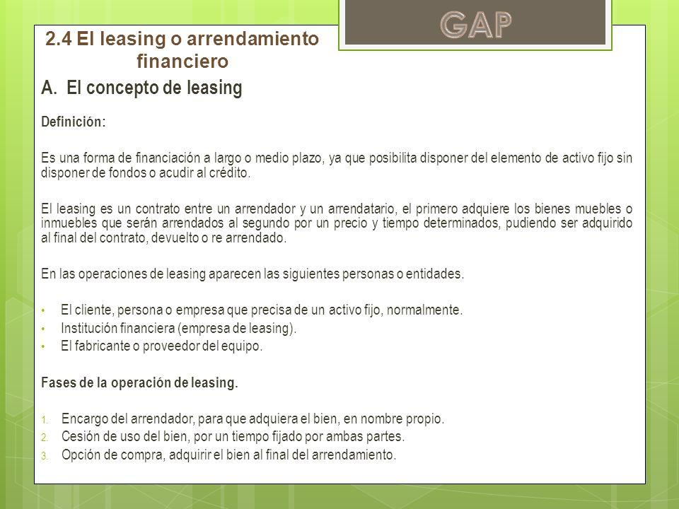 2.4 El leasing o arrendamiento financiero
