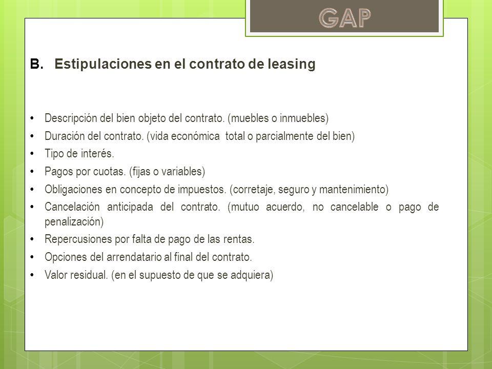 GAP Estipulaciones en el contrato de leasing