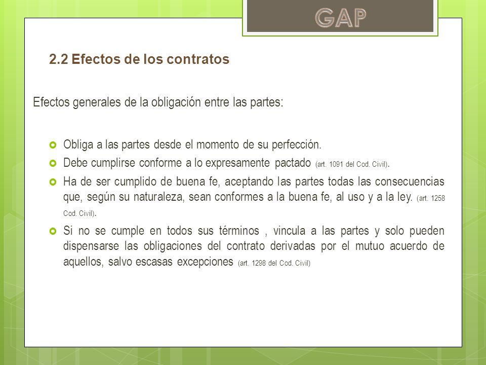 GAP 2.2 Efectos de los contratos