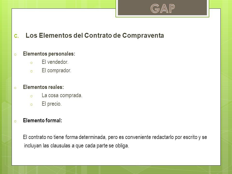 GAP Los Elementos del Contrato de Compraventa Elementos personales: