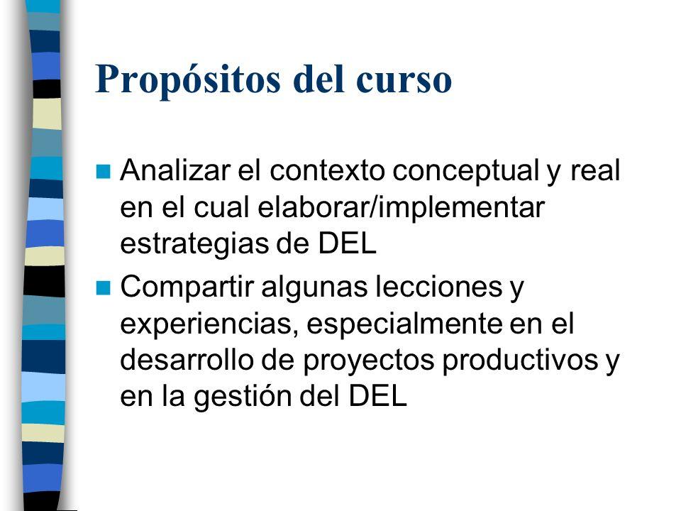 Propósitos del cursoAnalizar el contexto conceptual y real en el cual elaborar/implementar estrategias de DEL.