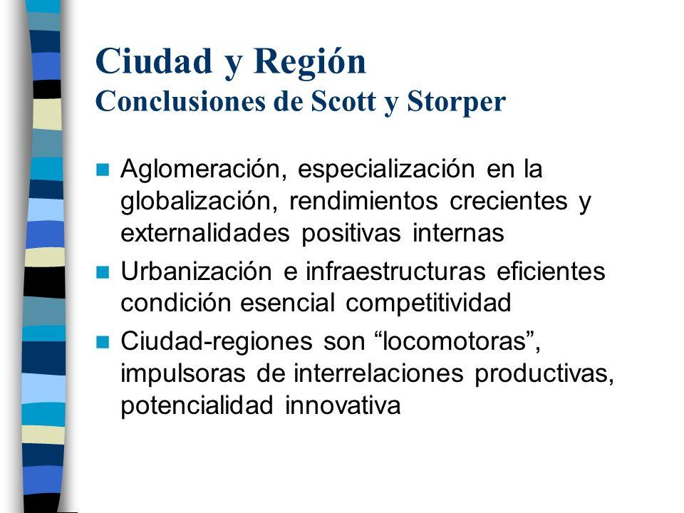 Ciudad y Región Conclusiones de Scott y Storper