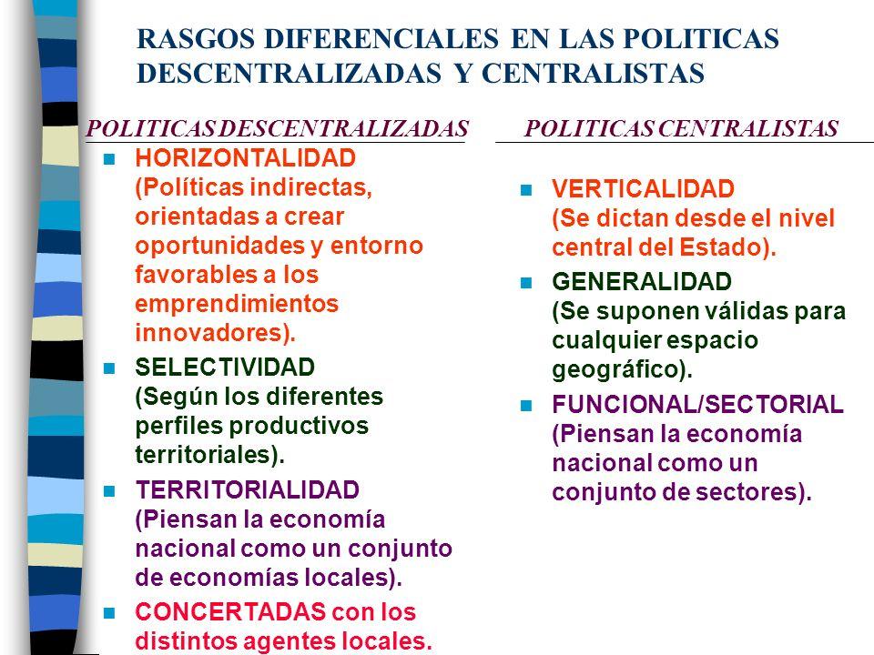 RASGOS DIFERENCIALES EN LAS POLITICAS DESCENTRALIZADAS Y CENTRALISTAS