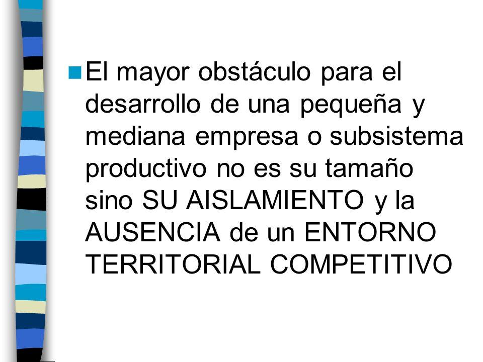 El mayor obstáculo para el desarrollo de una pequeña y mediana empresa o subsistema productivo no es su tamaño sino SU AISLAMIENTO y la AUSENCIA de un ENTORNO TERRITORIAL COMPETITIVO