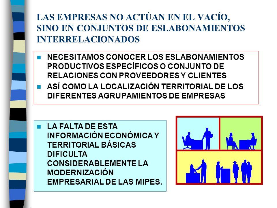LAS EMPRESAS NO ACTÚAN EN EL VACÍO, SINO EN CONJUNTOS DE ESLABONAMIENTOS INTERRELACIONADOS