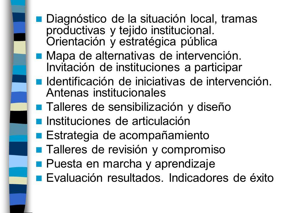 Diagnóstico de la situación local, tramas productivas y tejido institucional. Orientación y estratégica pública