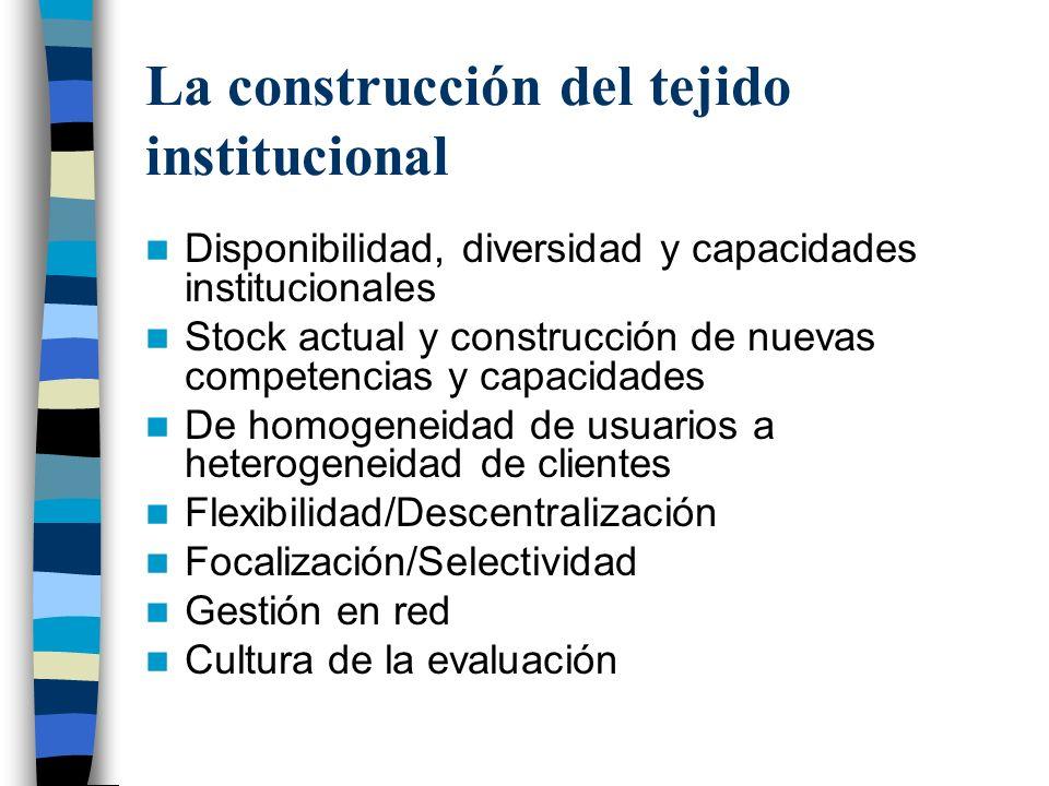 La construcción del tejido institucional
