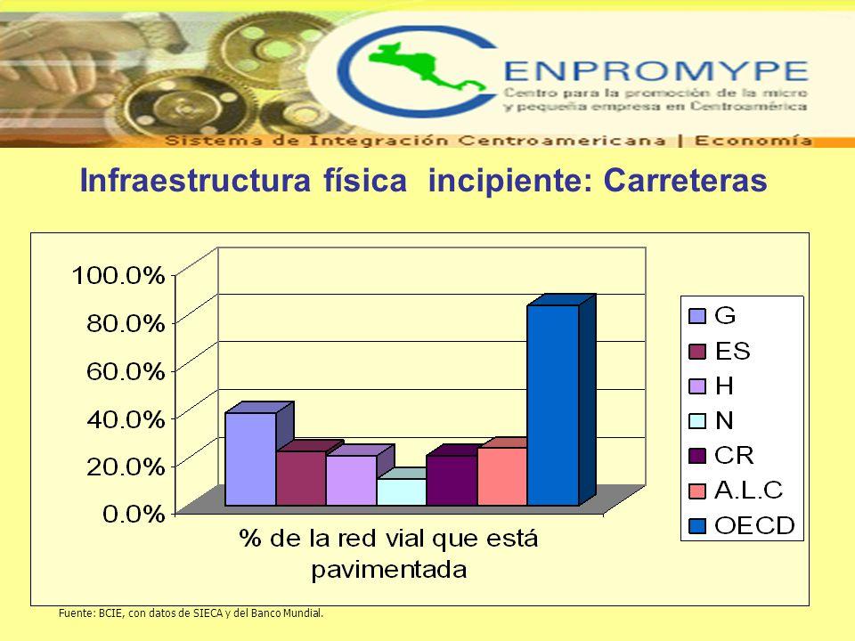 Infraestructura física incipiente: Carreteras