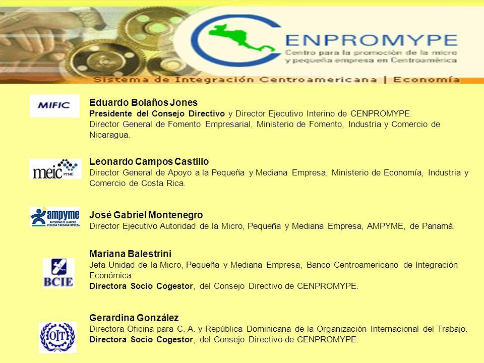 Eduardo Bolaños Jones Presidente del Consejo Directivo y Director Ejecutivo Interino de CENPROMYPE.