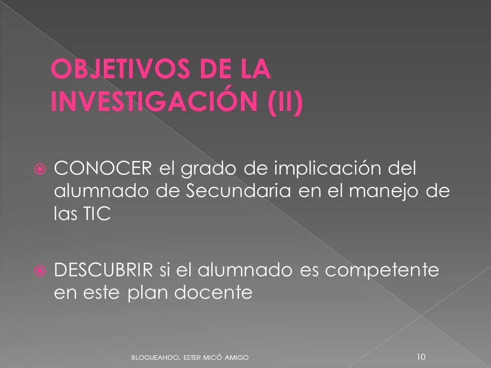 OBJETIVOS DE LA INVESTIGACIÓN (II)