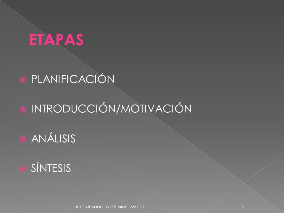 ETAPAS PLANIFICACIÓN INTRODUCCIÓN/MOTIVACIÓN ANÁLISIS SÍNTESIS