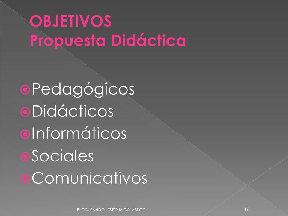 OBJETIVOS Propuesta Didáctica Pedagógicos Didácticos Informáticos