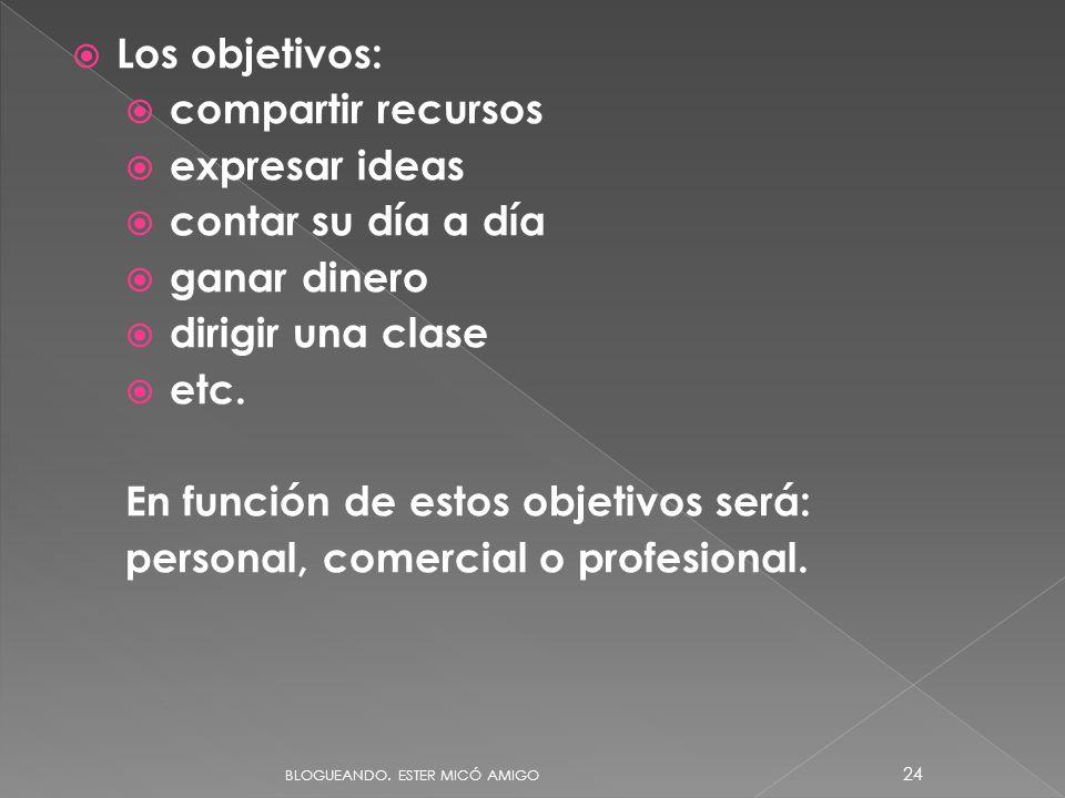 En función de estos objetivos será: personal, comercial o profesional.