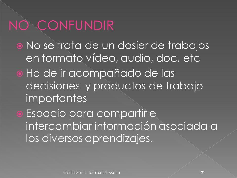 09/06/11 NO CONFUNDIR. No se trata de un dosier de trabajos en formato vídeo, audio, doc, etc.