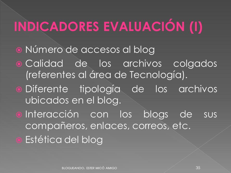 INDICADORES EVALUACIÓN (I)