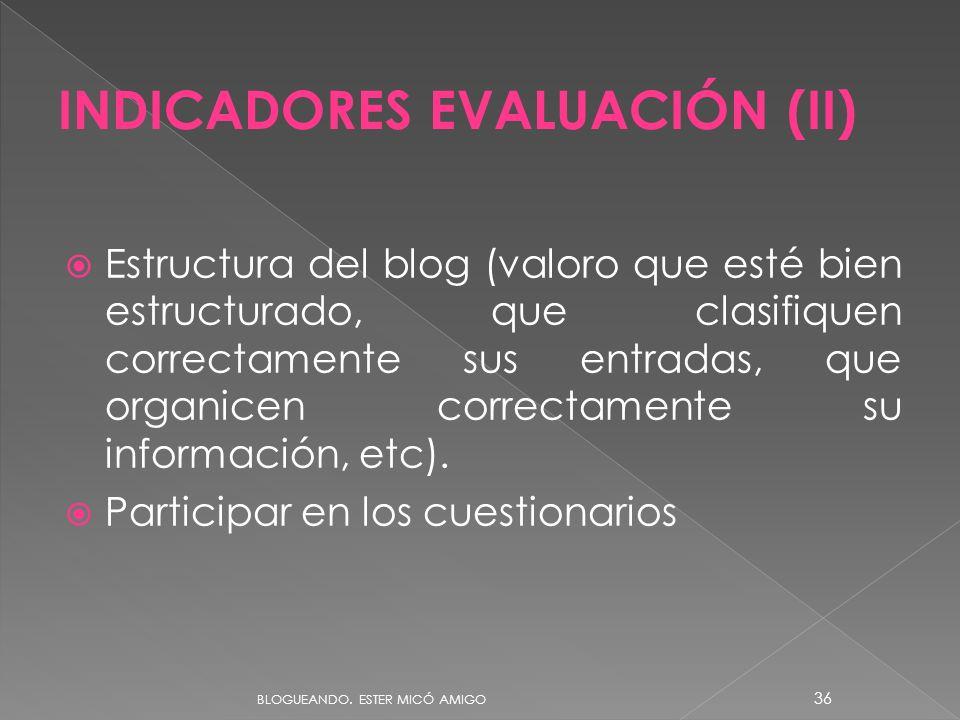 INDICADORES EVALUACIÓN (II)