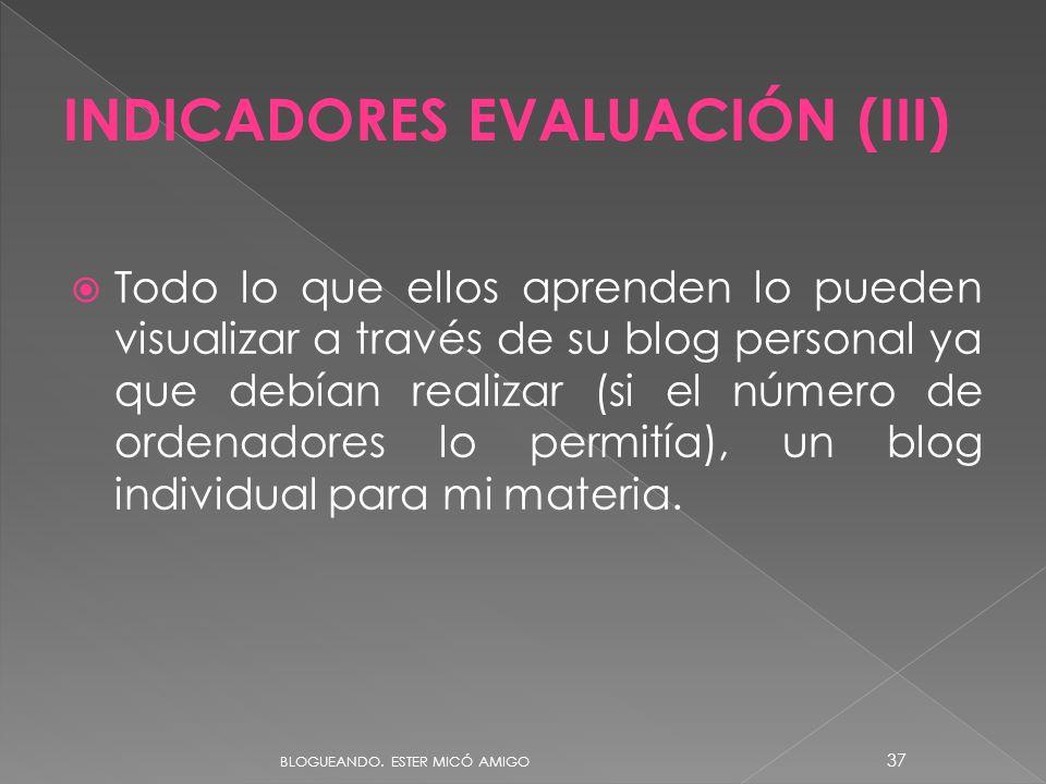 INDICADORES EVALUACIÓN (III)